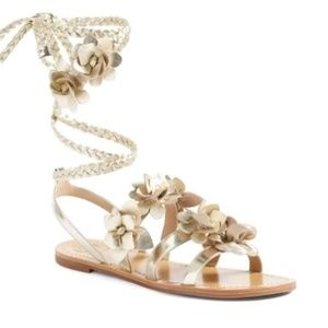 """TORY BURCH """"BLOSSOM"""" LEATHER GLADIATOR SANDALS 8.5"""